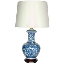 Asian Oriental 24 5 Quot Blue Amp White Porcelain Round Vase Lamp
