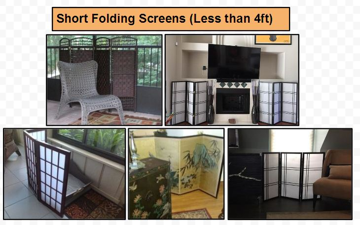 short folding screens and room dividers screens in 2ft,3ft,4ft heights