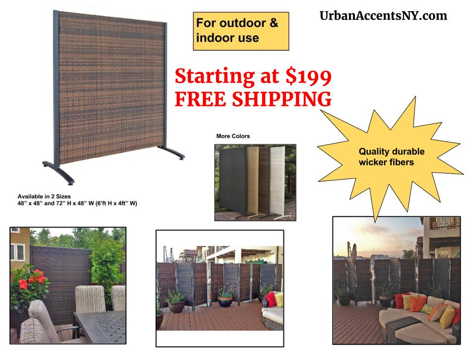 Discover Our New Wicker Outdoor Privacy Screen That Folds Or The Free  Standing Single Panel Partition.