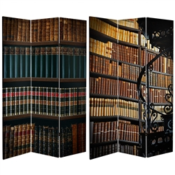 6 Ft Tall Double Sided Library Canvas Room Divider Screen